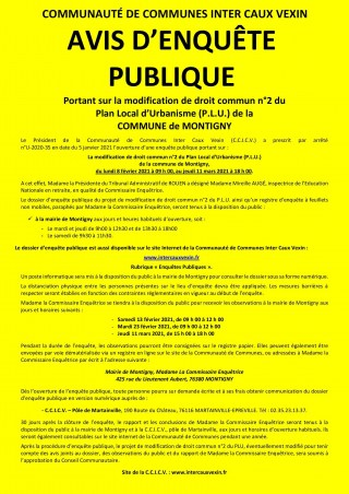 AVIS D'ENQUÊTE PUBLIQUE PORTANT SUR LA MODIFICATION DE DROIT COMMUN DU PLU
