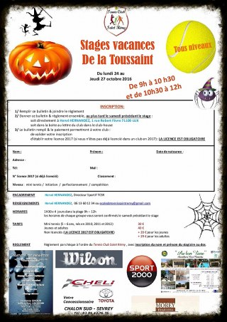 Stages Tennis De la Toussaints  2016 !