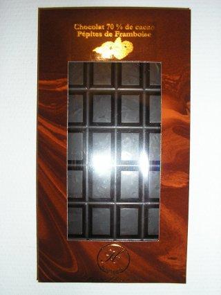 chocolat noir 70% et pépites de framboise