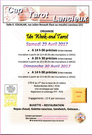 WEEK-END TAROT 29-30 AVRIL à LANCIEUX