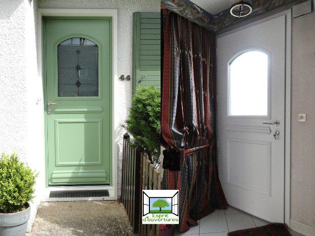 Esprit d'ouvertures Porte d'entrée Aluminium bicolore vert vitrée intérieur exterieur Blandy les Tours