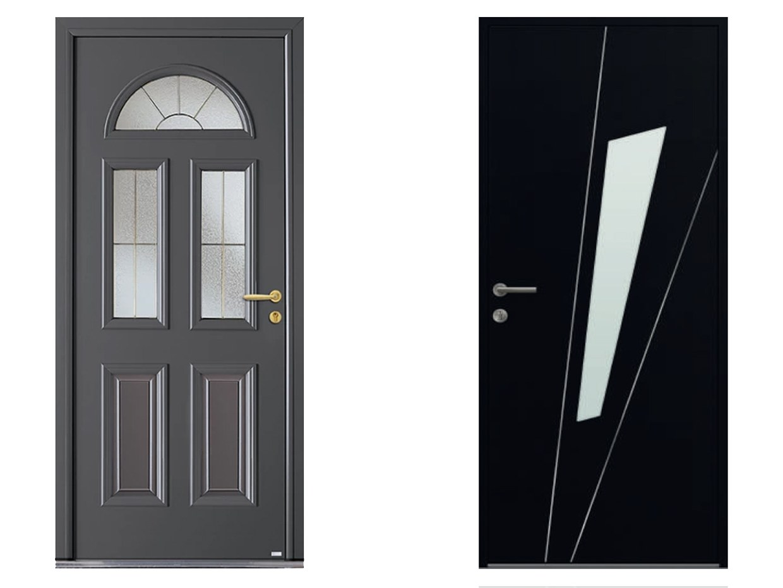 Porte d'entrée aluminium kline belm fuseau noir 9005 gris 7016 sur mesure