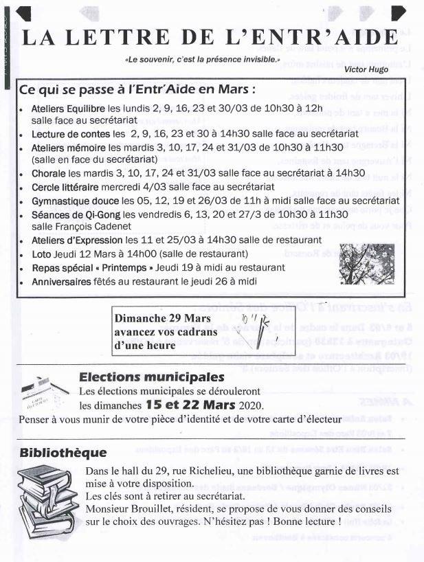 Activités de Mars - Entr'Aide Gardoise - Nîmes