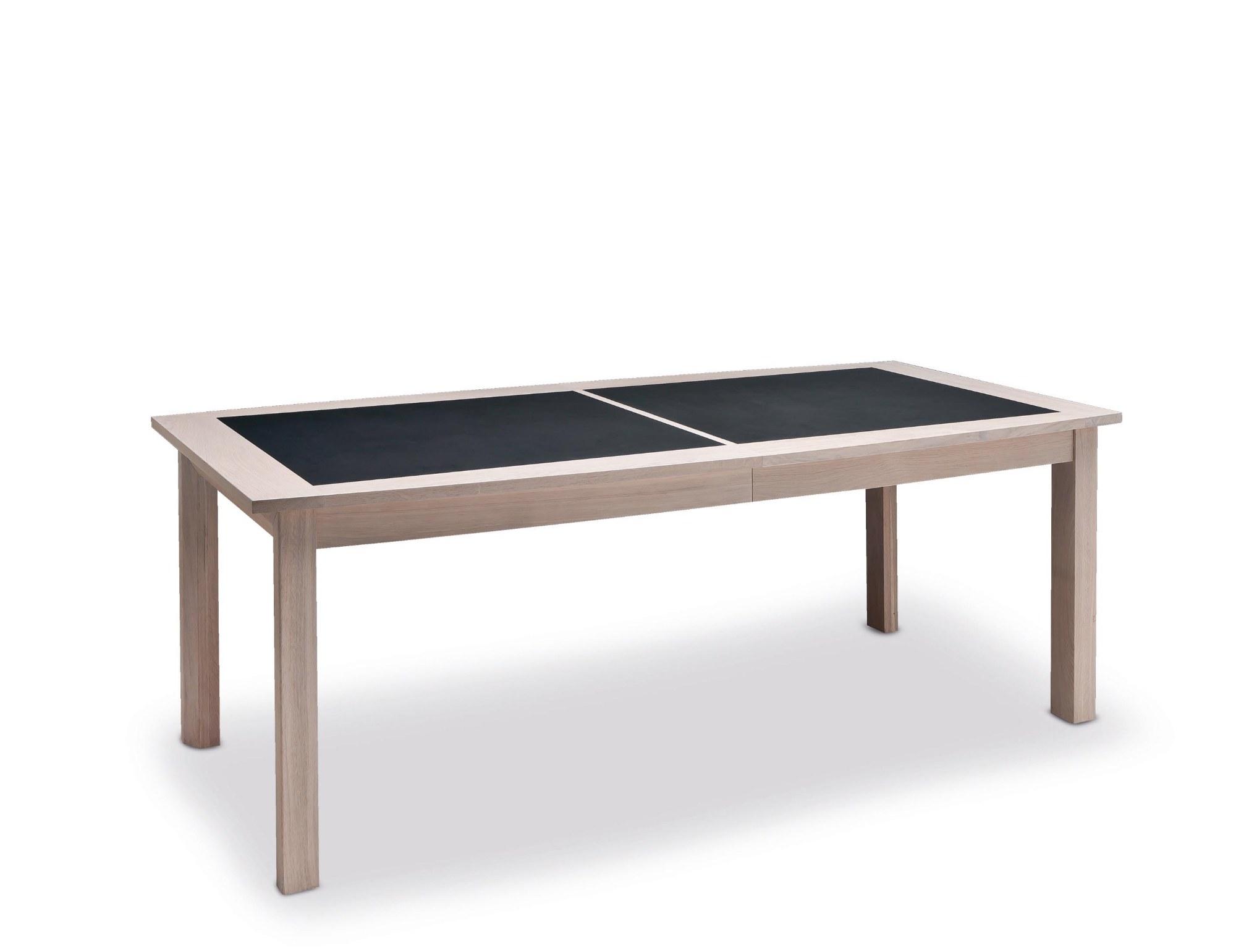 Table belem Quatre pieds dessus et allonges céramique grise