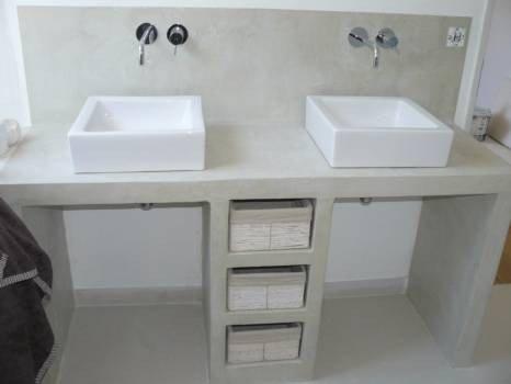 salle de bain vasque beton ciré moderne design contemporain pas chere ambiance pierre carrelage aubagne
