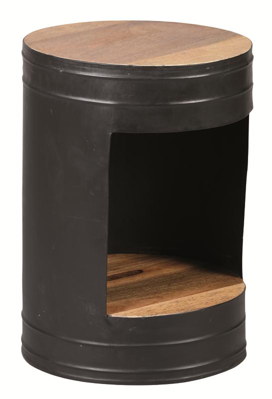 guéridon acier noir patiné vieilli ref1838