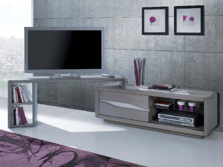 promo meuble tv gris