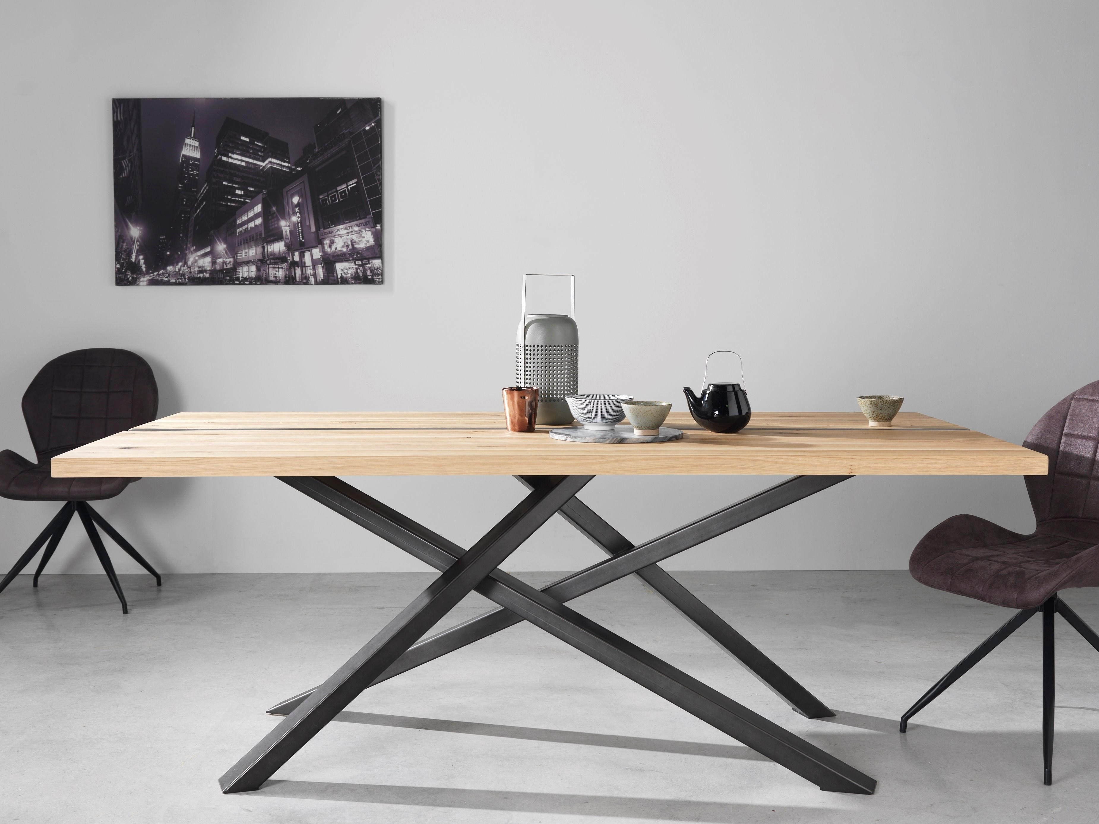 Table pied métal jasmin