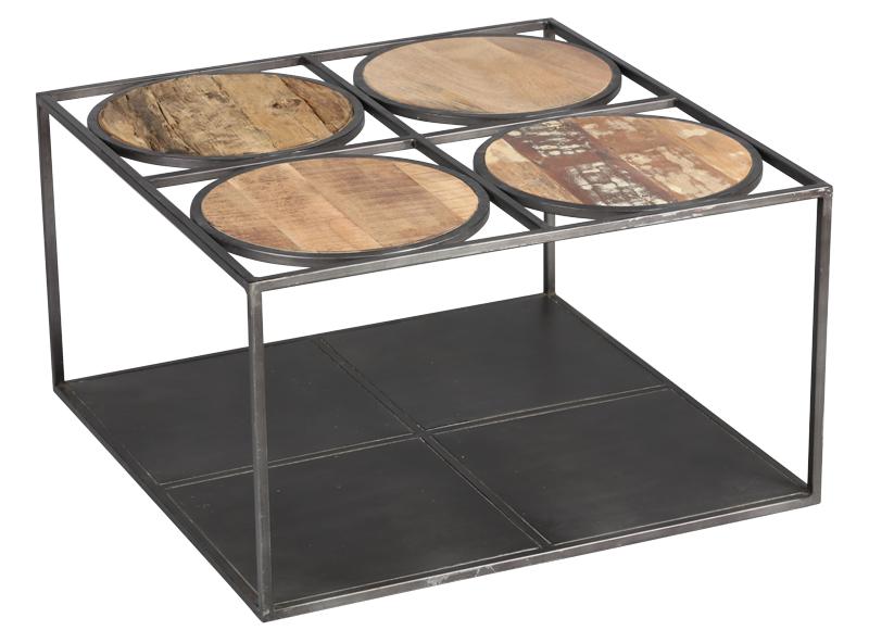 table basse bois métal Ref 1819