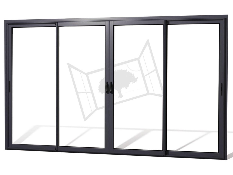 Coulissant aluminium 4 vantaux noir 2100 gris antracithe rupture thermique renovation