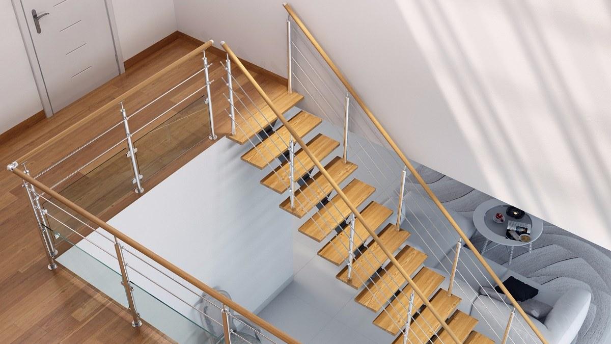 escalier alu et bois
