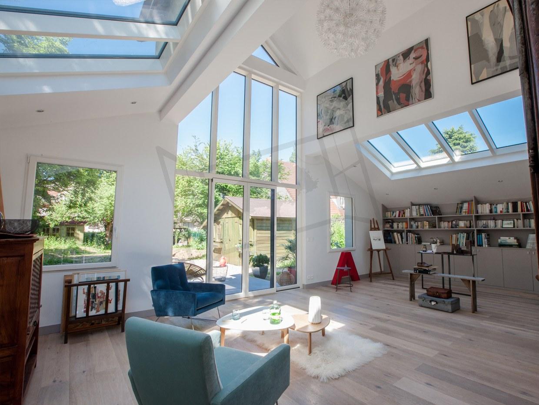 Fenêtre mixte design mur rideau aluminium bois alu mc france