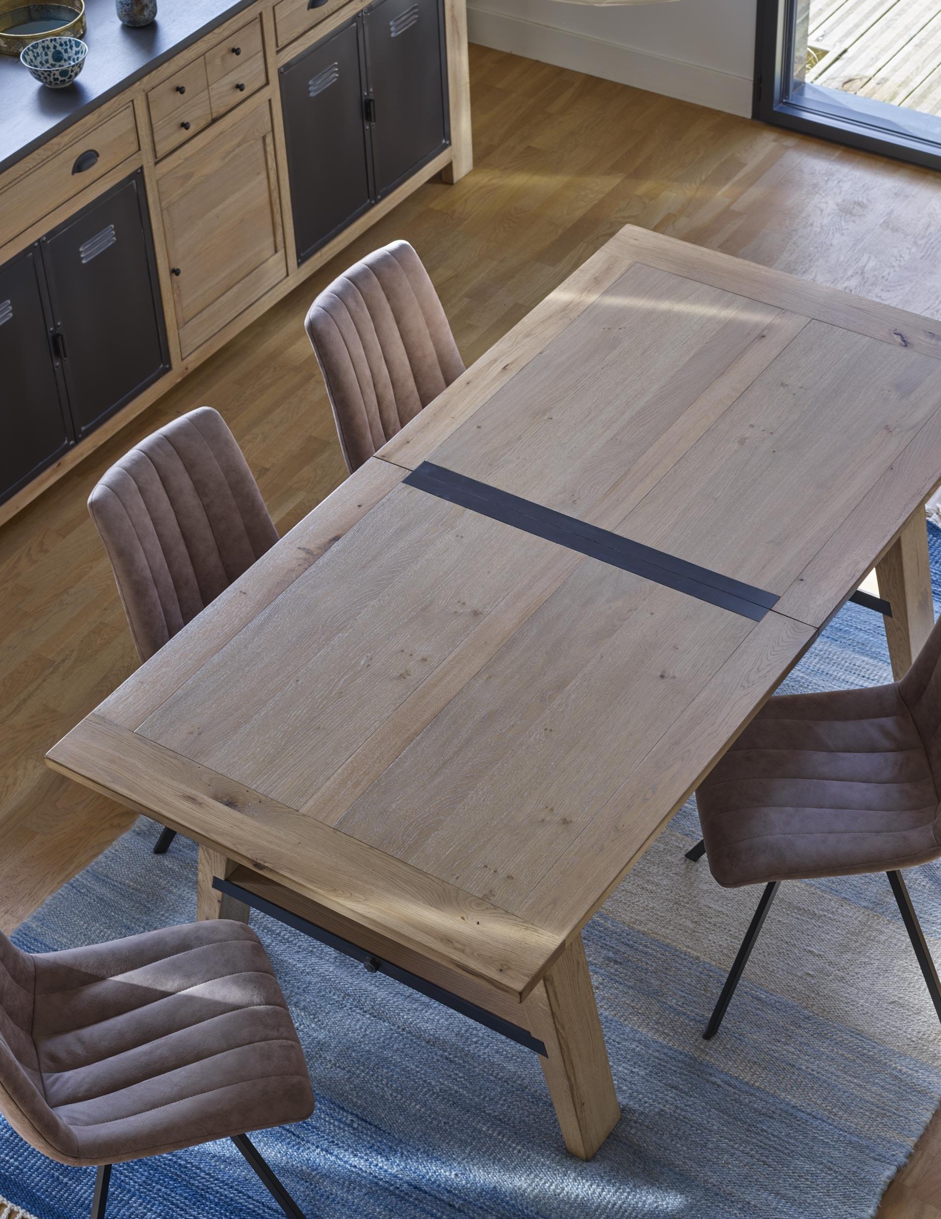 madison table salle à manger bois insert métal industrielle
