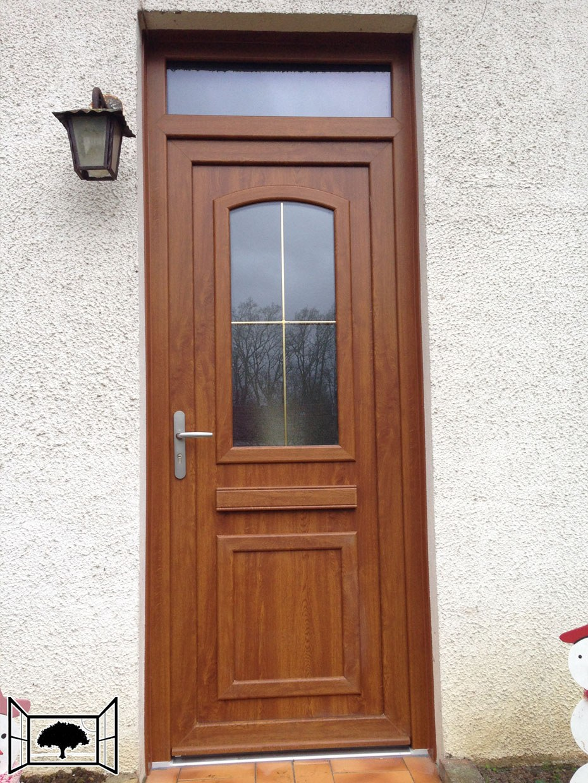 Porte d'entrée PVC Door'Plast Givors chene doré