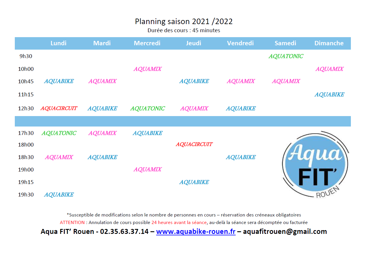 Planning cours Aquabike Aquafit Rouen 2021 2022