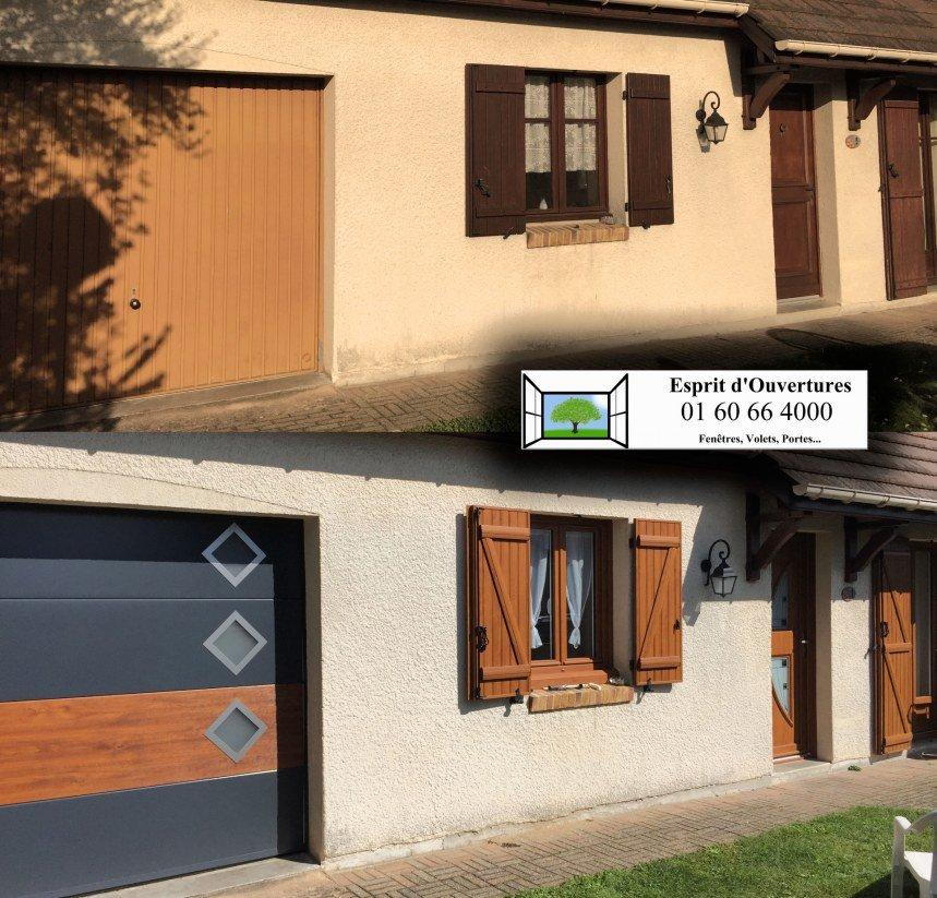 Porte de garage miami by me fenetre chene doré volet battant pvc 24mm porte d'entrée porte-fenêtre rénovation dépose totale sectionnelle sommer somfy