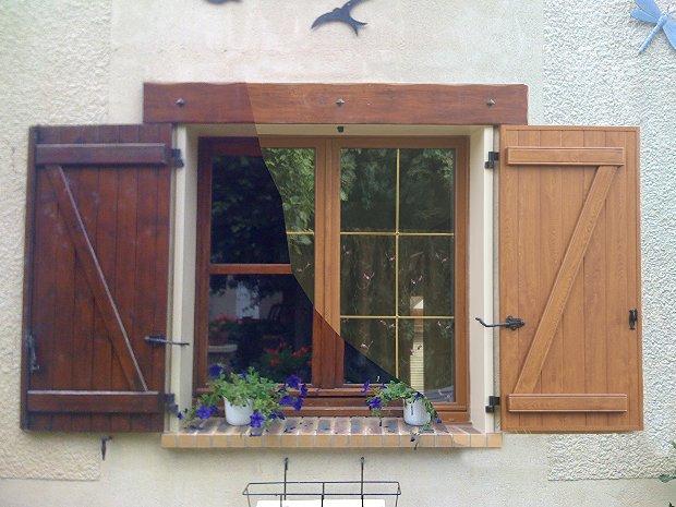 ESPRIT D'OUVERTURES PVC chêne doré fenêtre volet battant avant/après bois laiton