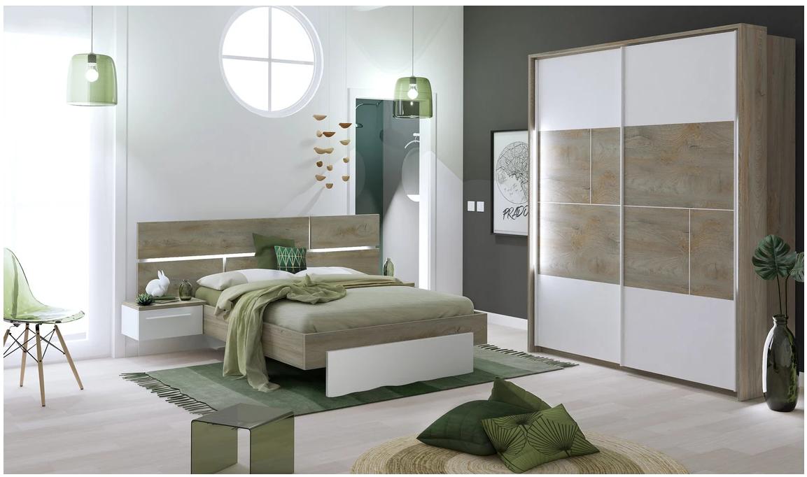 Chambre a couché laqué blanc- bois- moderne- prado