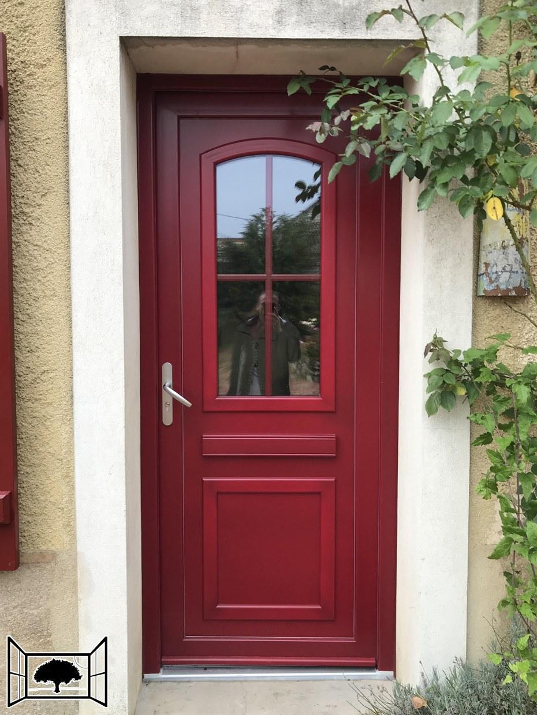 Porte d'entrée PVC rouge Door'plast Oise