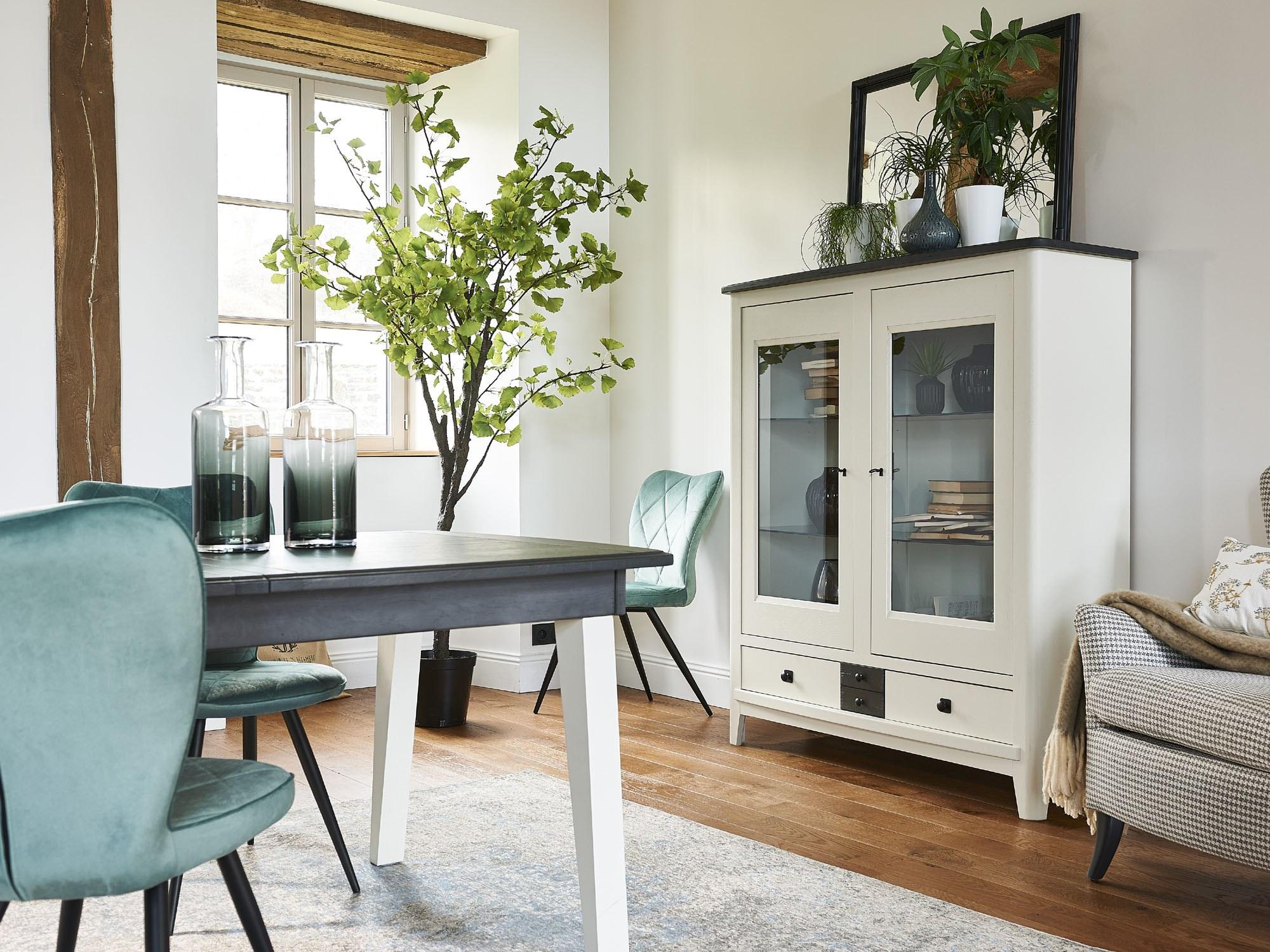 séraphine chêne massif table vitrine chaise velours