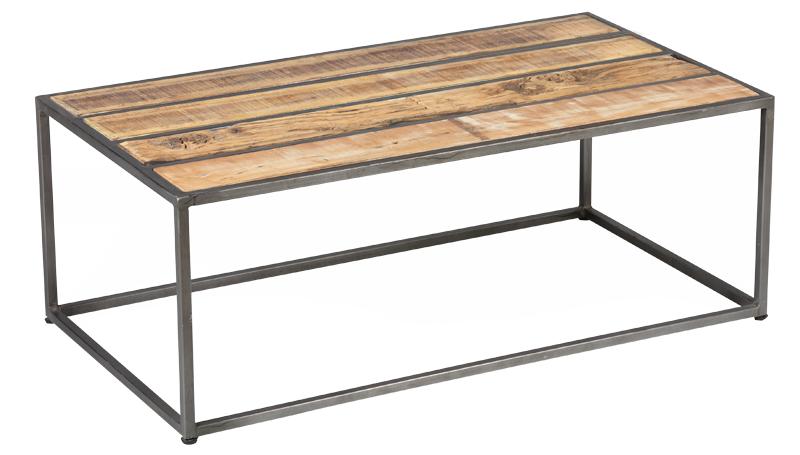 table basse rectangulaire Ref1866 acier dessus lame de bois de recuperation palissandre vieillie vernis