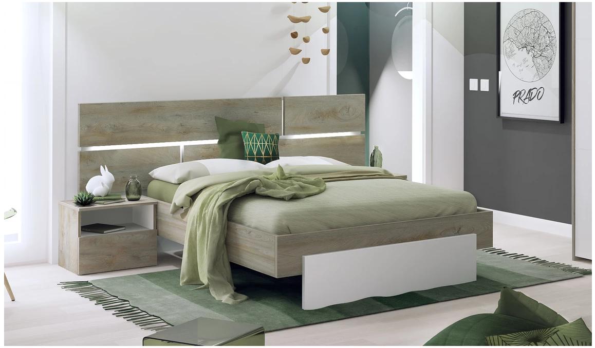 Chambre a couché laqué blanc- bois- moderne
