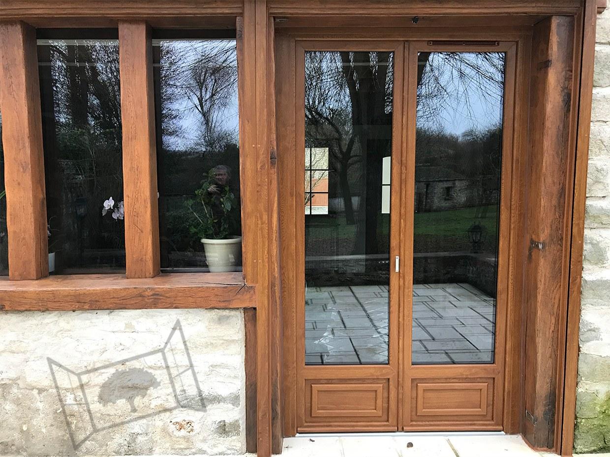 porte-fenêtre pvc chene doré zendox bipa esprit renovation