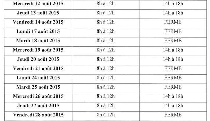 Annonce Horaires