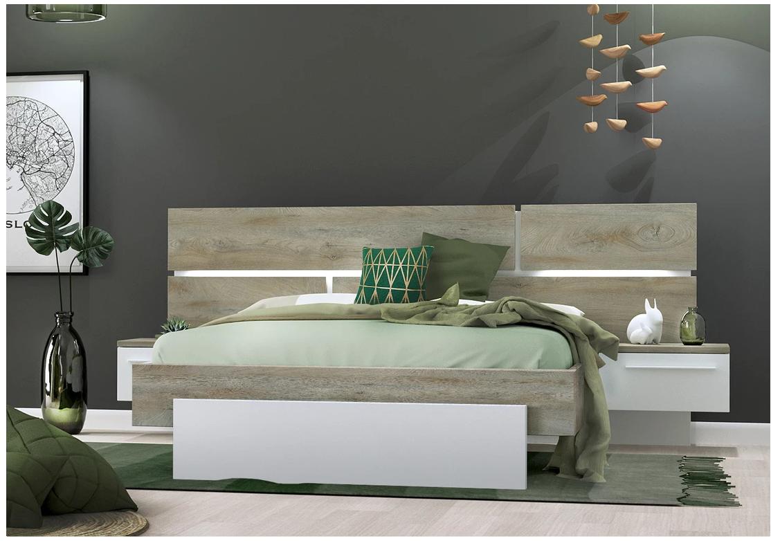lit prado laque blanc et bois moderne