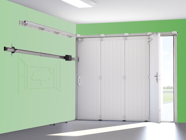 Porte de garage sectionnelle latérale motorisé avec portillon somfy