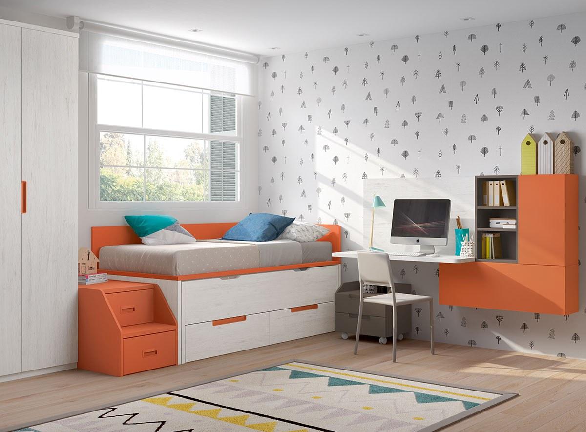Camas compactas F001 chambre aménagé coloré