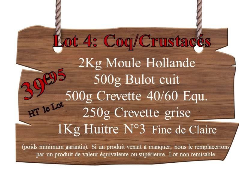 Lot 4 Coq crustacés