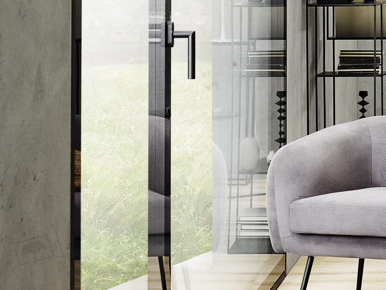Baie vitrée Clara mixte triple vitrage swiss made façade design moderne fenêtre luxe poignée
