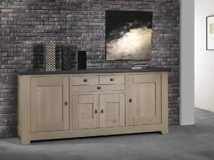 bahut buffet 100 chene massif whitney gris fabricants. Black Bedroom Furniture Sets. Home Design Ideas