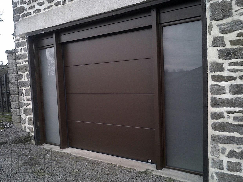 Porte de garage avec tierce sectionnelle bronze 1247