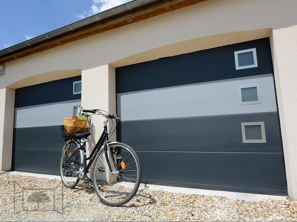Double porte de garage sectionnelle gris anthracite 7016 velo