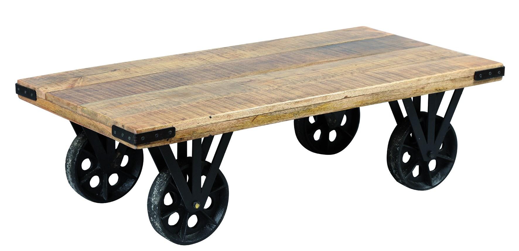 table basse métal sur roue ref 1817