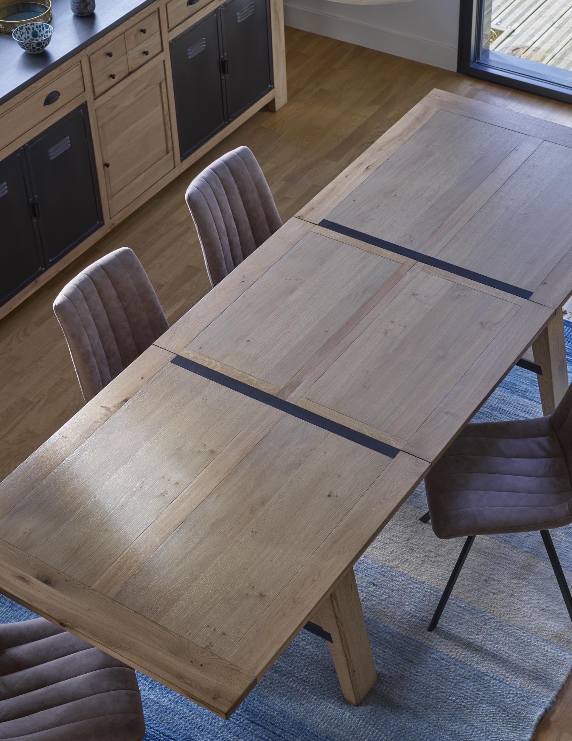 madison table salle à manger bois insert métal industrielle allonge portefeuille