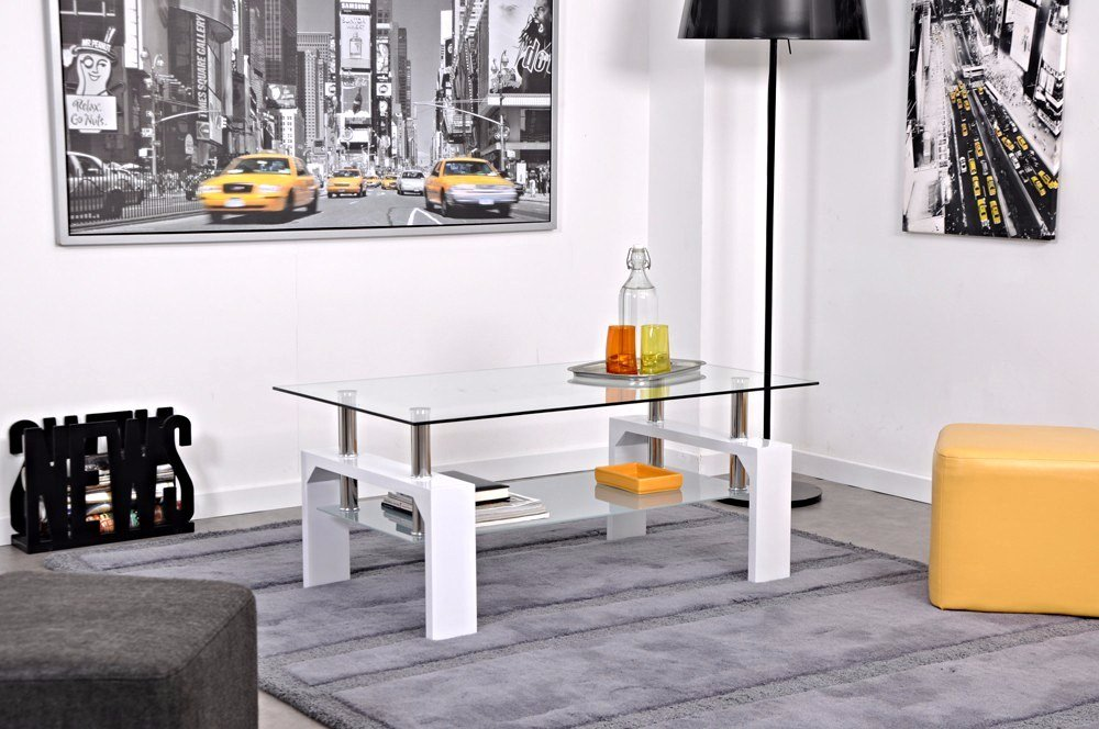 table basse moderne laquee blanc