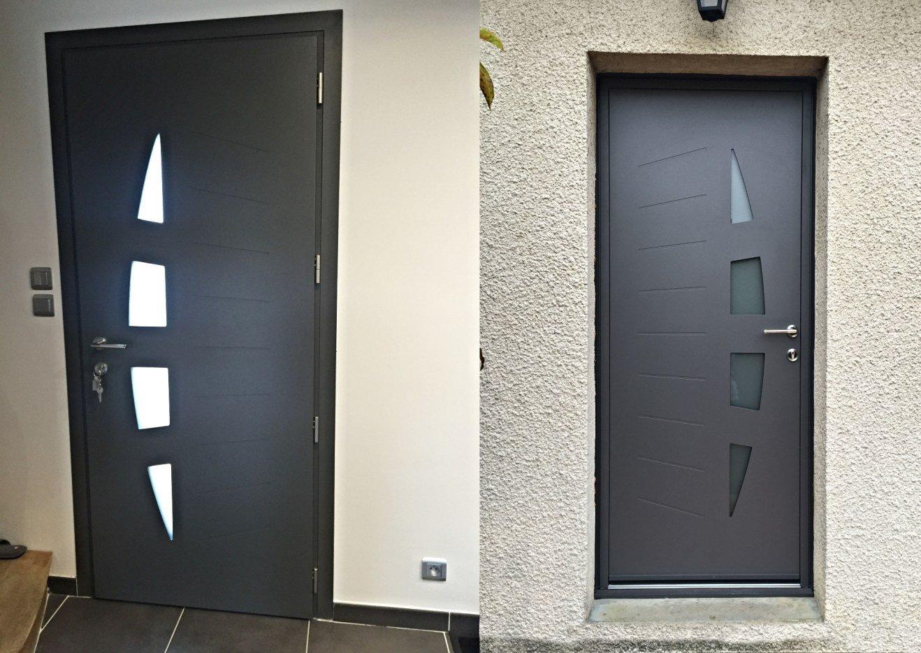 Porte d'entrée alu aluminium 7016 gris kline k-line belm bel'm réno rénovation esprit d'ouvertures