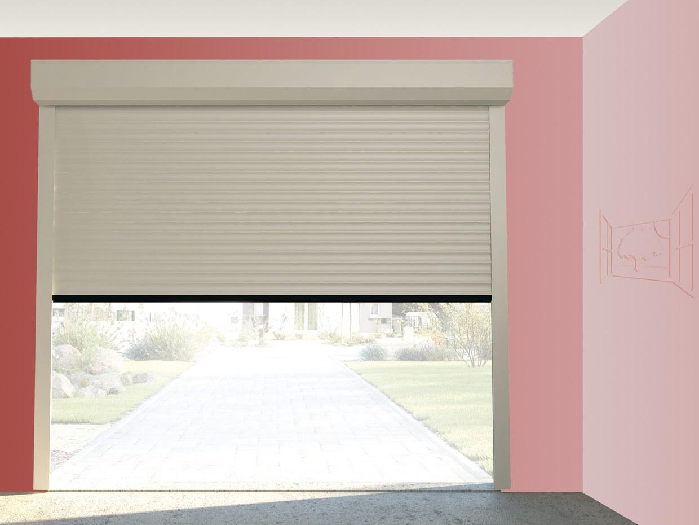 Porte de garage enroulable à enroulement ROLL 77  easylis excelis somfy barre palpeuse