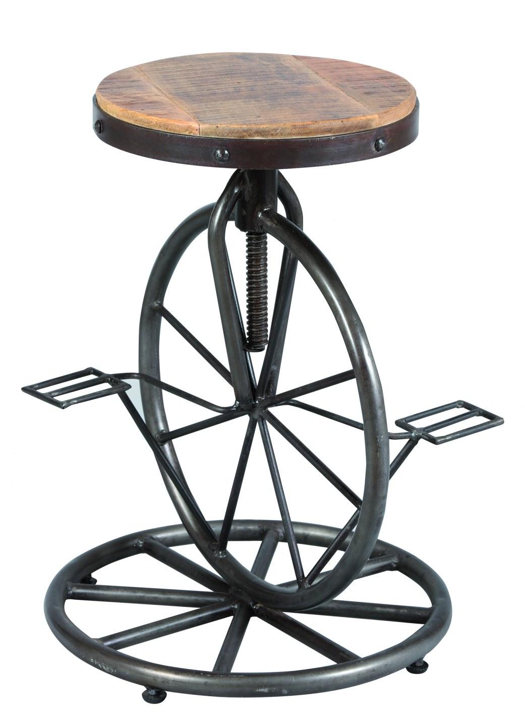 tabouret a vis ref 1891 assise bois pietement en acier