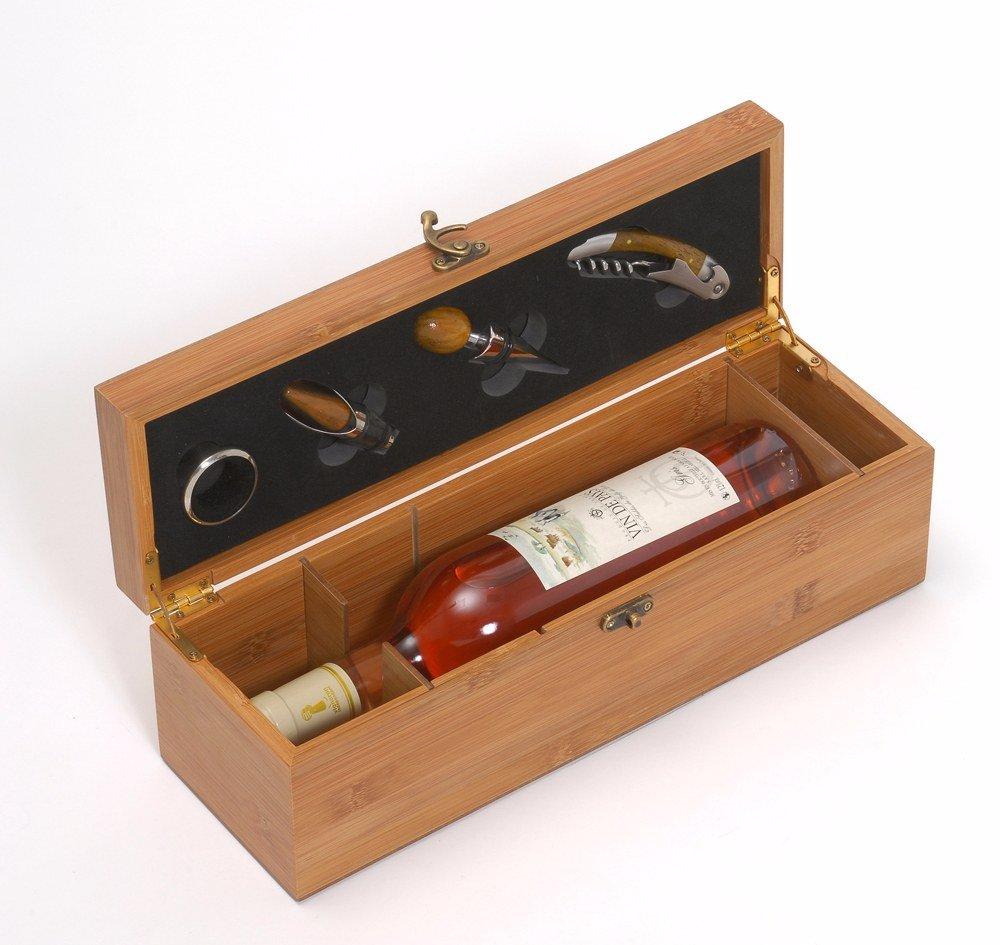 lps coffret bouteille vin bambou accessoires