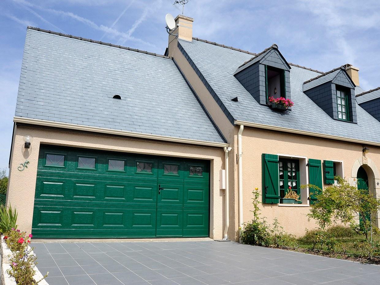 Porte de garage vert sapin 6021 RAL sectionnelle sommer pro plus