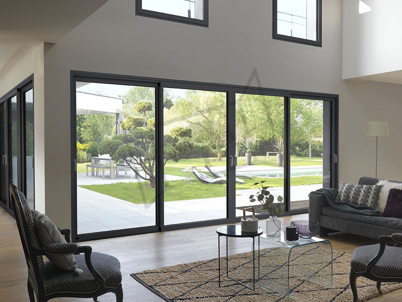 Coulissant 4 vantaux alu bois design moderne mixte