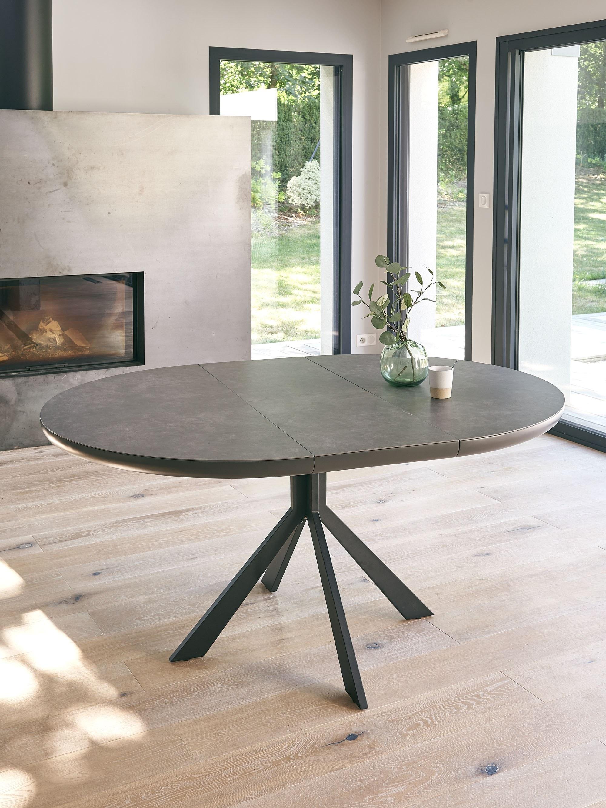 table ronde céramique grise avec allonge papillon central