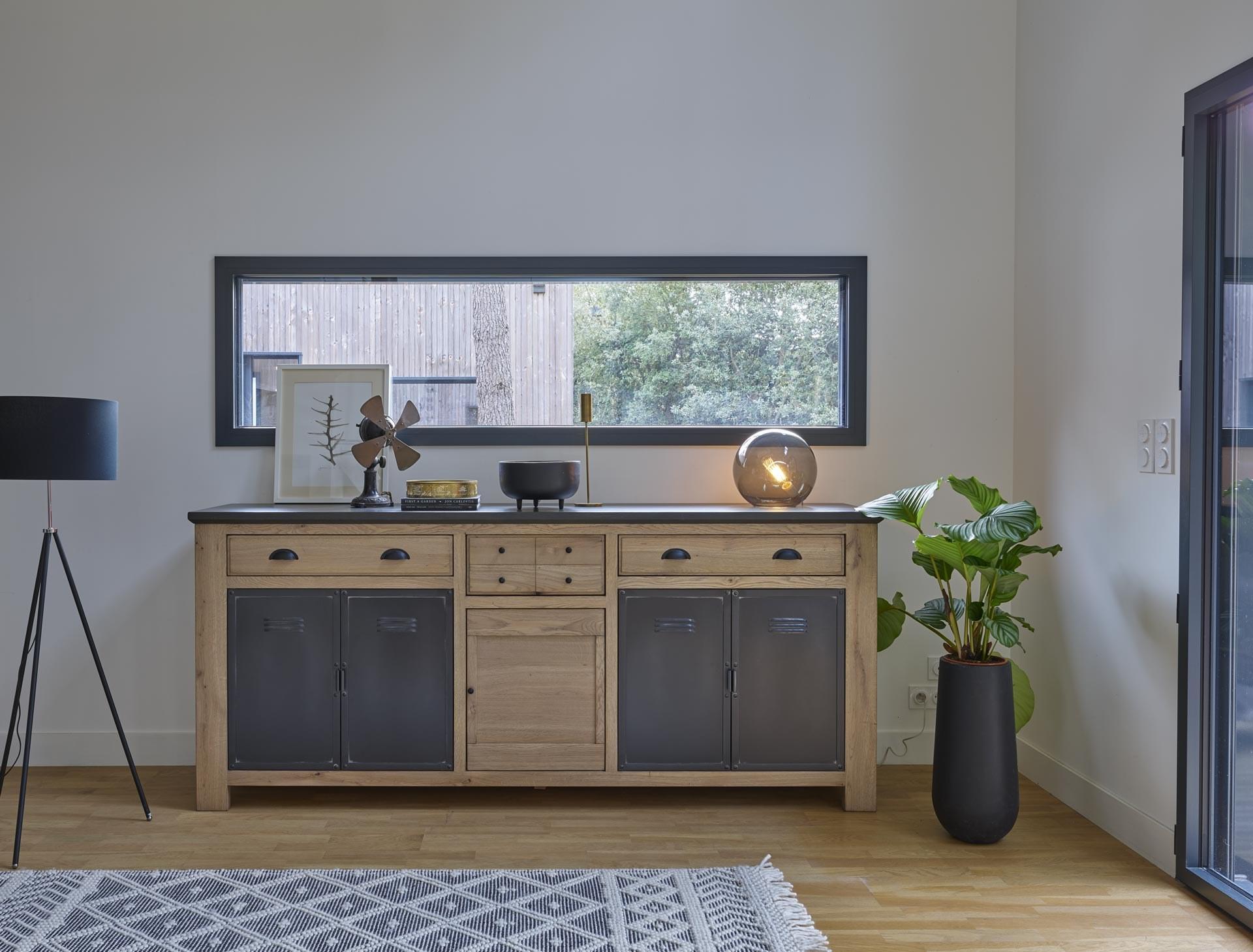 MADISON Bahut bois porte métal industriel