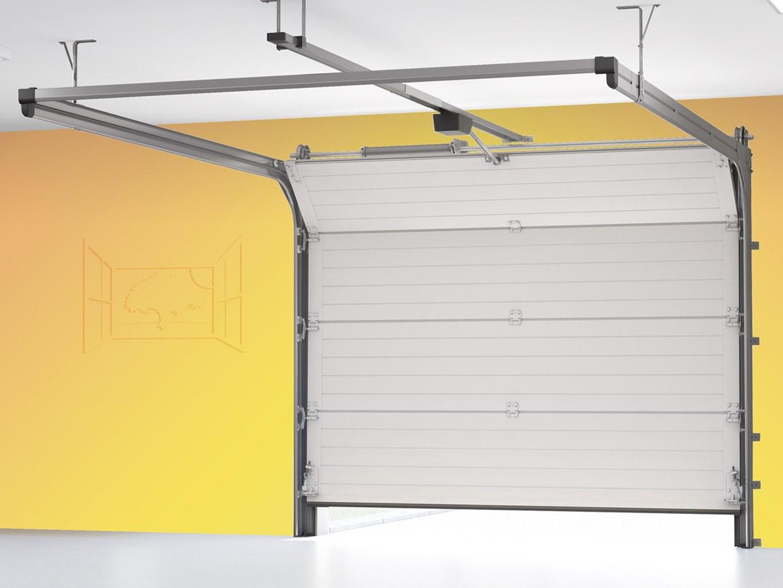 Porte de garage sectionnelle motorisée ouverture plafond acier galvanisé accès voiture