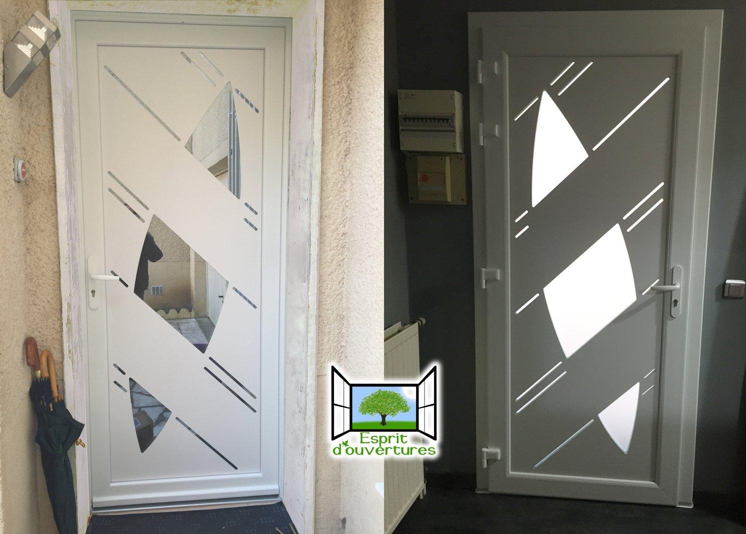 Esprit d'ouvertures Porte d'entrée PVC design antellio paumelles hahn devis prix seuil alu