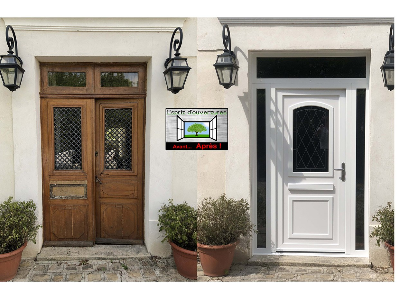 porte d'entrée PVC door'plast Oise double tierce imposte athena PVC